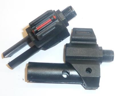 Front sight, Rebel style, red fibre optic with M12 silencer adaptor. Adaptor is in metal