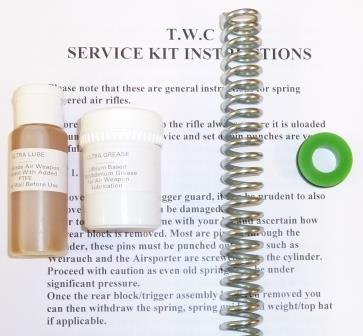Airsporter Mk1 Service kit with standard spring, seal upgrade, lube and grease.