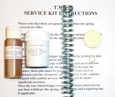 HW35 late (Nylon seal) Service kit with standard spring, seal upgrade, lube and grease.