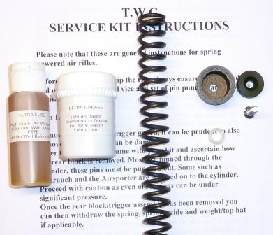 HW50 Early (leather seal) Service kit with standard spring, breech seal, piston seal, lube and grease.