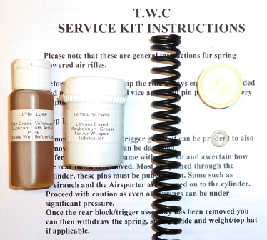 HW80 Service kit with standard spring, breech seal, piston seal, lube and grease.