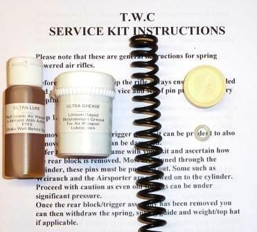 HW85 Service kit with standard spring, breech seal, piston seal, lube and grease.